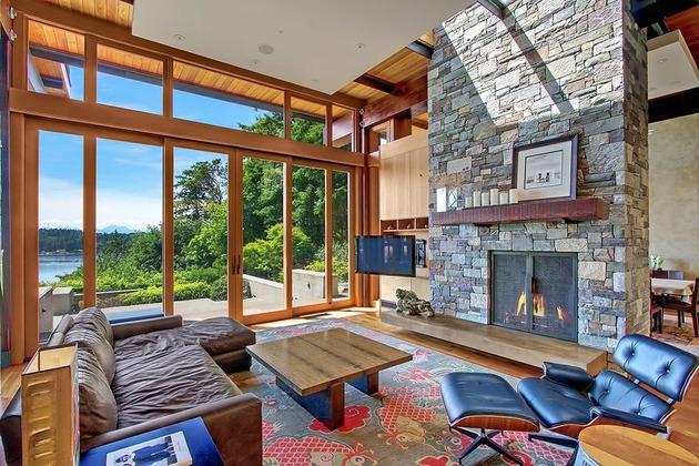 Casa de madera piedra y acero en bainbridge island tikinti for Casas de piedra y madera