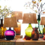 Lampara de cristal de colores de Pottery Barn