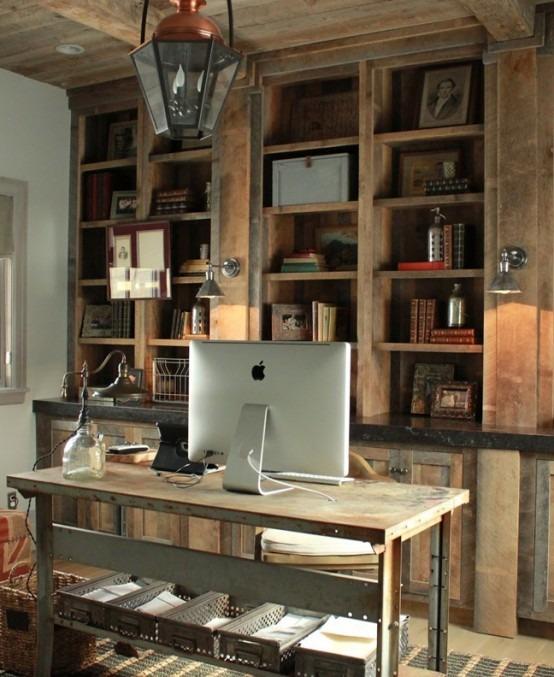 42 Impresionantes Dise Os De Oficinas Estilo Rustico Tikinti