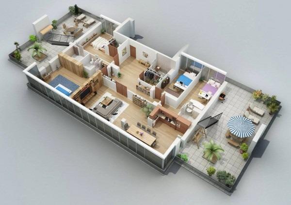 23 planos 3d de apartamentos  realmente impresionantes