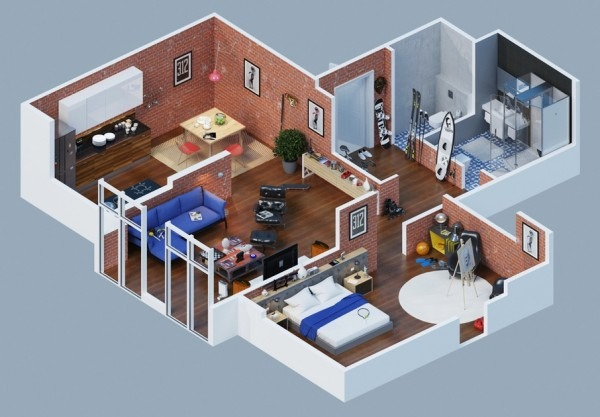 23 planos 3d de apartamentos realmente impresionantes for Apartment type house plans philippines