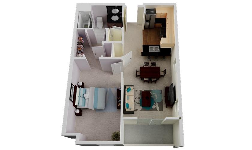 47 planos de apartamentos de 01 dormitorio tikinti for Diseno de apartamento de 4x8 mts