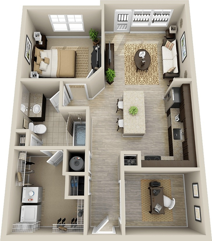 47 planos de apartamentos de 01 dormitorio tikinti for 1br apartment design ideas
