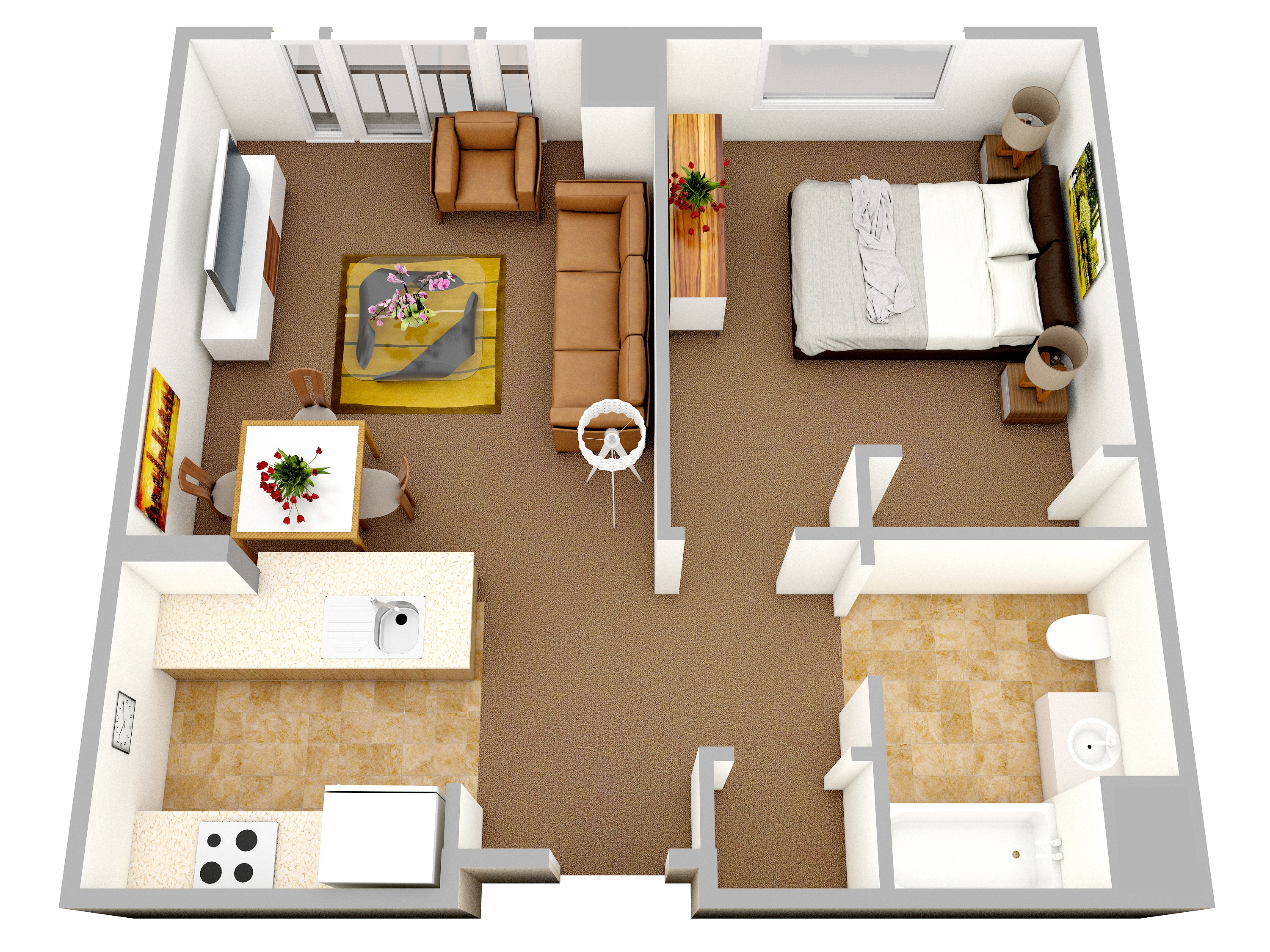 47 planos de apartamentos de 01 dormitorio tikinti for Small one room apartment ideas