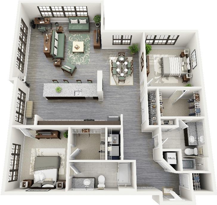 50 planos de apartamentos de dos dormitorios tikinti for Departamentos en planos