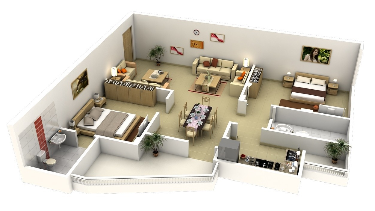 50 planos de apartamentos de dos dormitorios tikinti for 2 bedroom flat decorating ideas