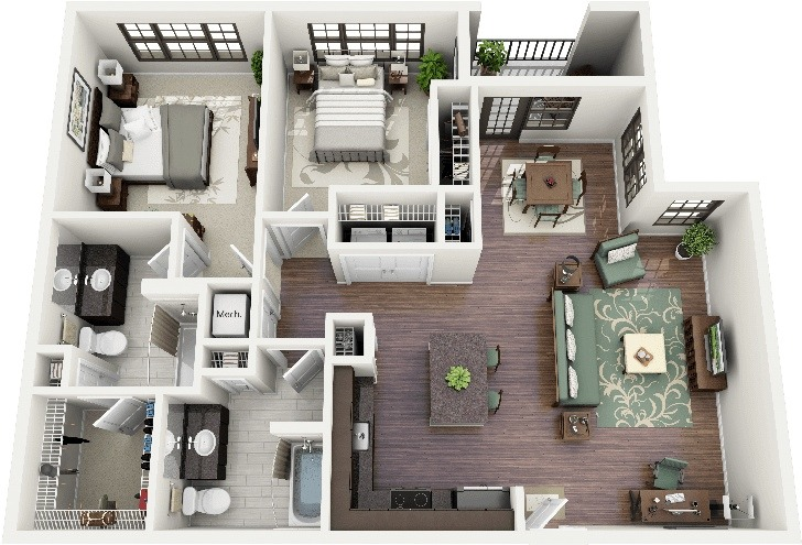 50 planos de apartamentos de dos dormitorios tikinti for Small apartment layout plans