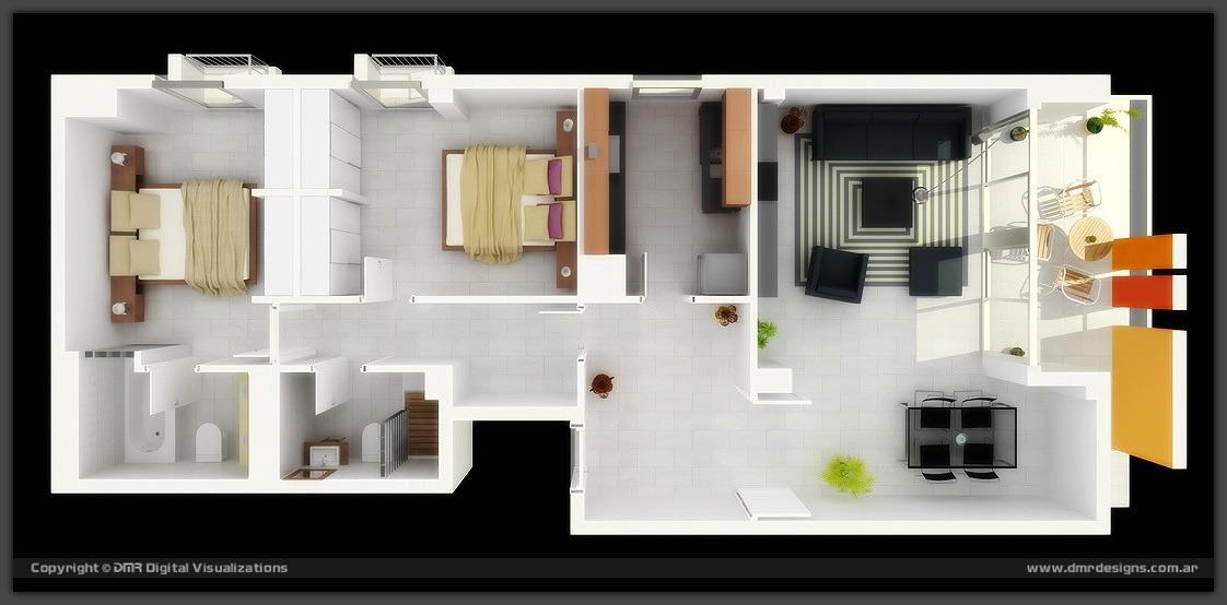 50 planos de apartamentos de dos dormitorios tikinti for Diseno de apartamento de una habitacion