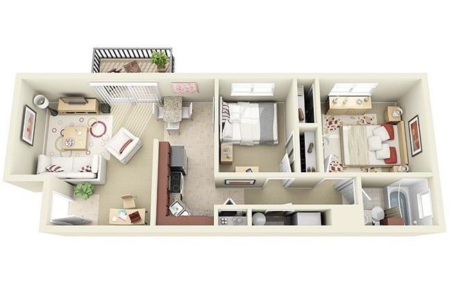 50 planos de apartamentos de dos dormitorios tikinti for Apartamentos pequenos planos