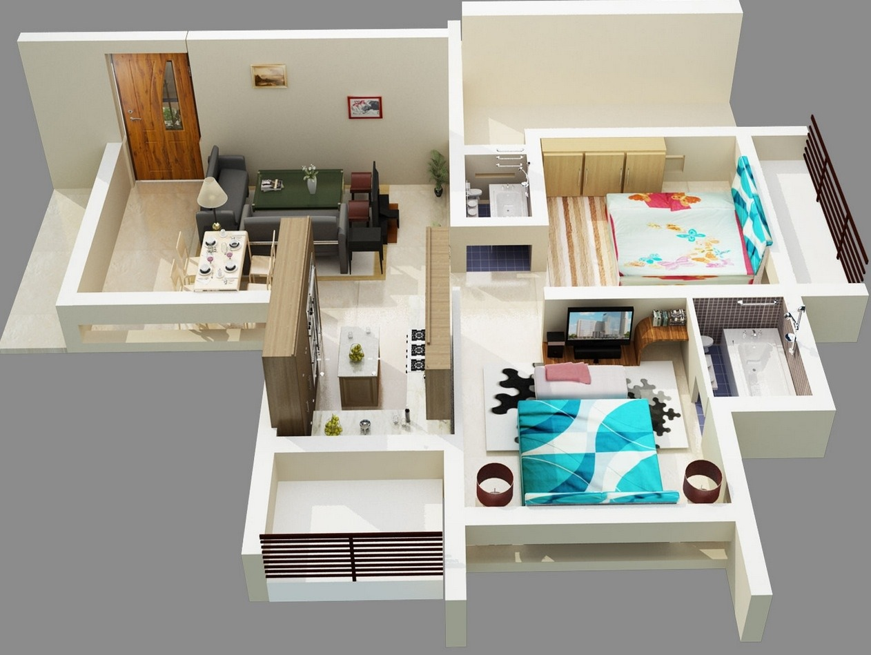 50 planos de apartamentos de dos dormitorios tikinti - Architectural plan of two bedroom flat with dining room ...