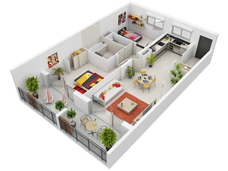 50 Planos De Apartamentos Dos Dormitorios Tikinti
